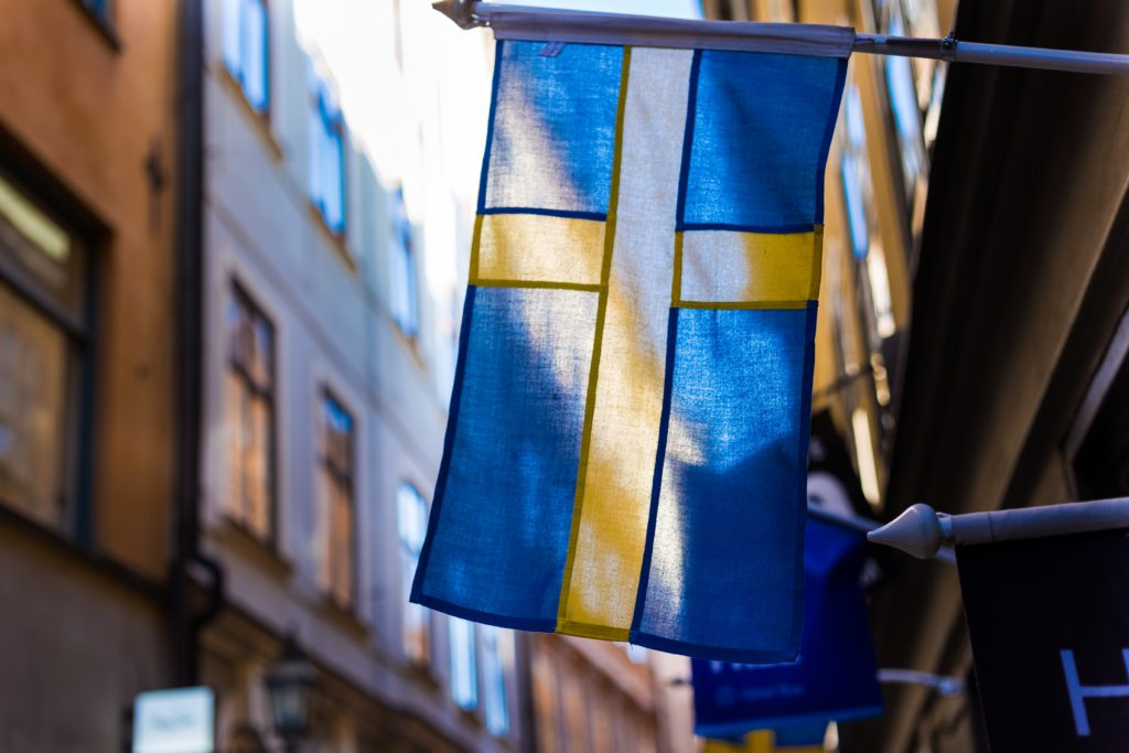 A picture of a Swedish flag, illustrating swedisch market